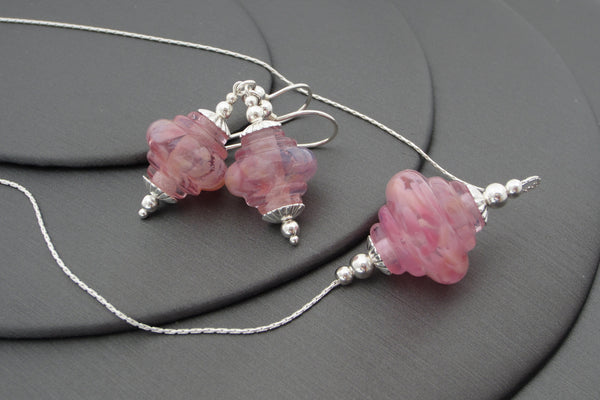 """Soft Pinks"" Baroque Glass & 925 Sterling Silver Necklace & Earrings Set"
