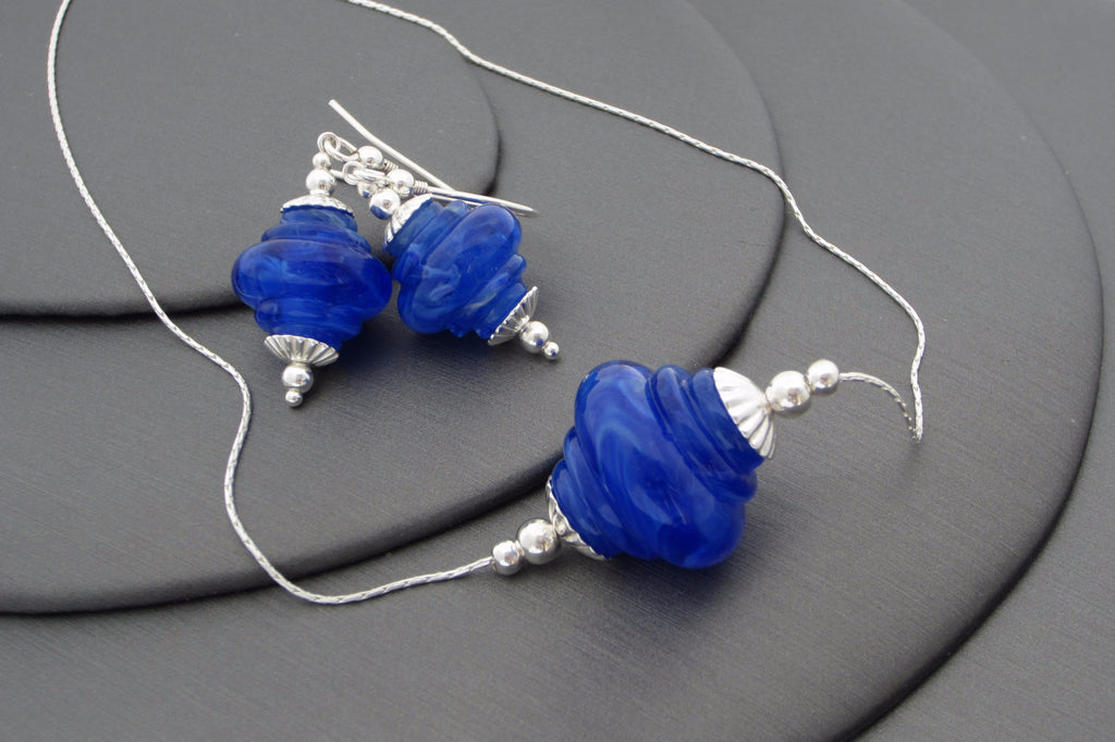 """Blue Storm"" Baroque Glass & 925 Sterling Silver Necklace & Earrings Set"