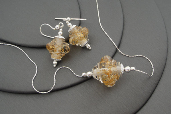 """Golden Sparkle"" Baroque Glass & 925 Sterling Silver Necklace & Earrings Set"