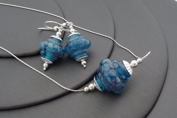 """Teal Twist"" Baroque Glass & 925 Sterling Silver Necklace & Earrings Set"