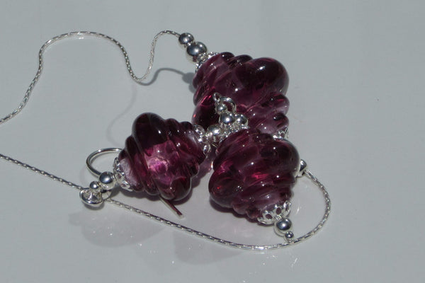 """Fuchsia Pink"" Baroque Glass & 925 Sterling Silver Necklace & Earrings Set"