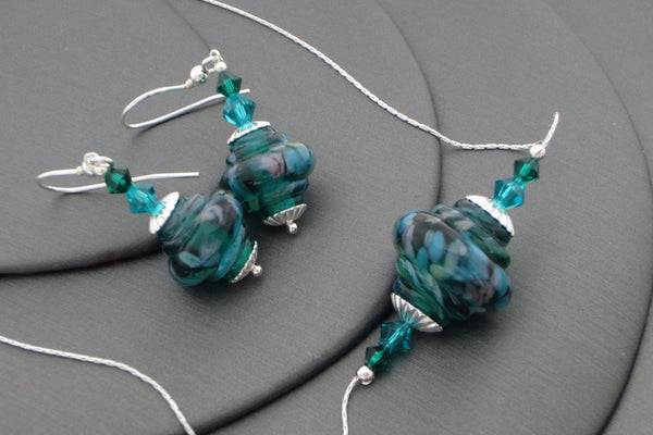 """Emerald Garden"" Baroque Glass & 925 Sterling Silver Necklace & Earrings Set"