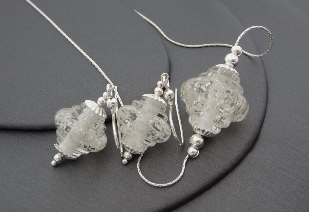 """Silver Sparkle"" Baroque Glass & 925 Sterling Silver Necklace & Earrings Set"