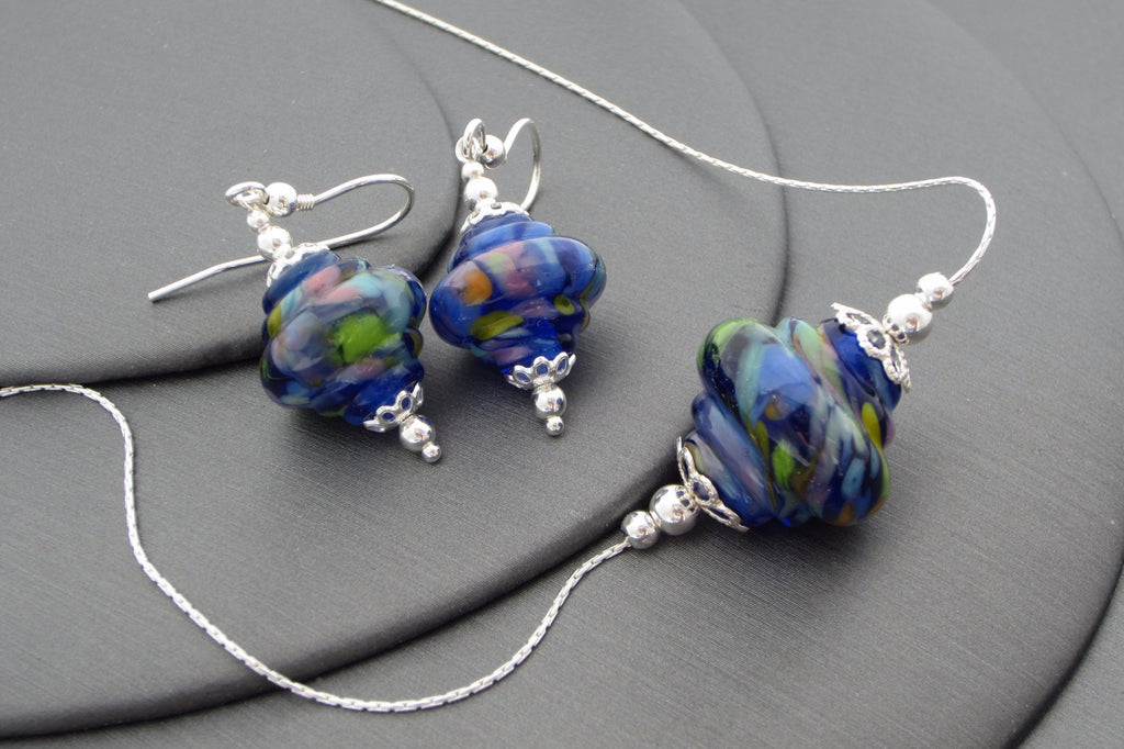 """Summer Blue"" Baroque Glass & 925 Sterling Silver Necklace & Earrings Set"