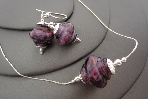 """Purple on Pink"" Baroque Glass & 925 Sterling Silver Necklace & Earrings Set"