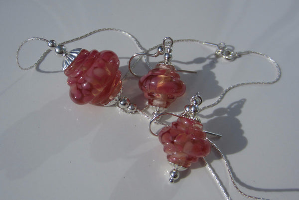 """Peachy Pink"" Baroque Glass & 925 Sterling Silver Necklace & Earrings Set"