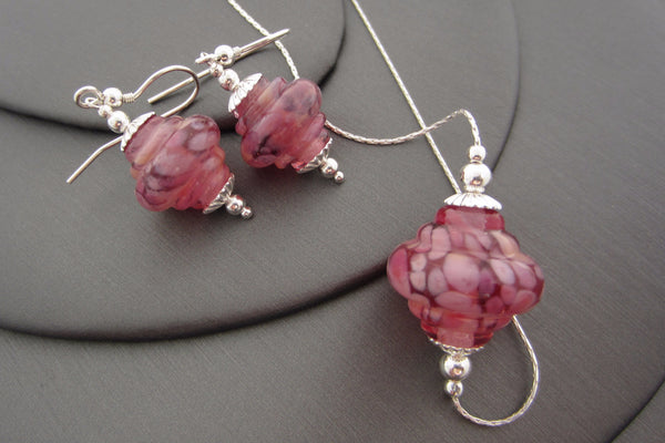 """Pink Lilac"" Baroque Glass & 925 Sterling Silver Necklace & Earrings Set"