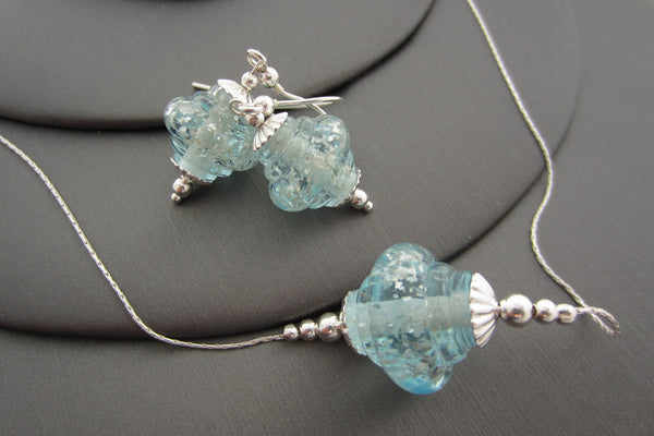 """Aqua Sparkle"" Baroque Glass & 925 Sterling Silver Necklace & Earrings Set"