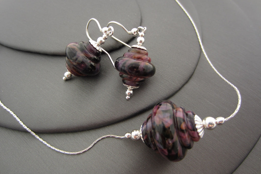 """Purple on Purple"" Baroque Glass & 925 Sterling Silver Necklace & Earrings Set"