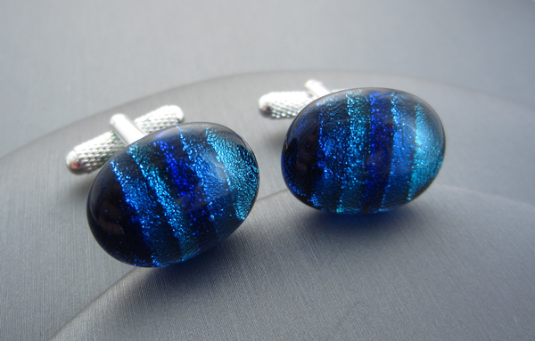 Blue Stripe Glass Cufflinks