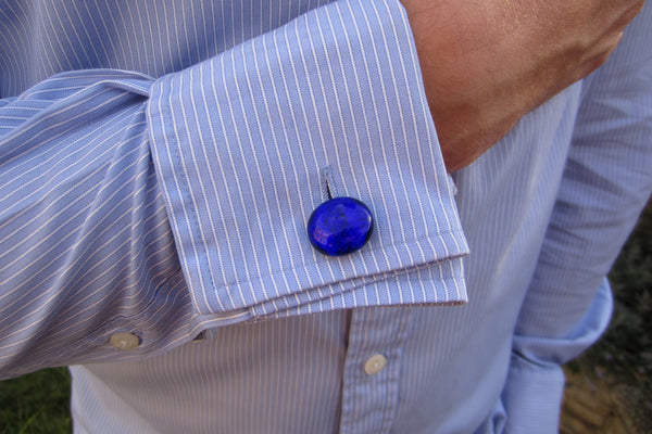 'Brilliant Blue' Glass Cufflinks
