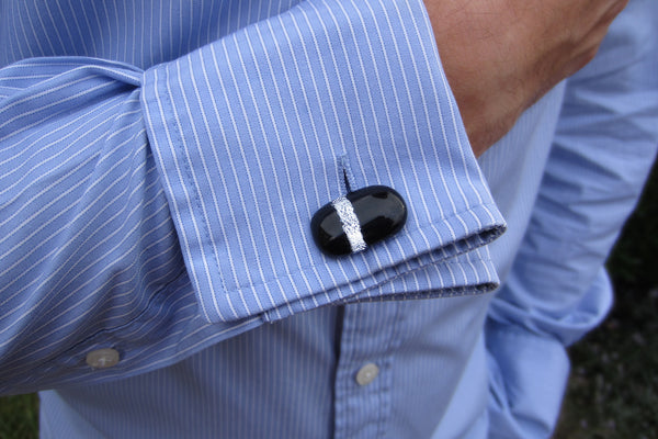 'Silver Stripe' Glass Cufflinks