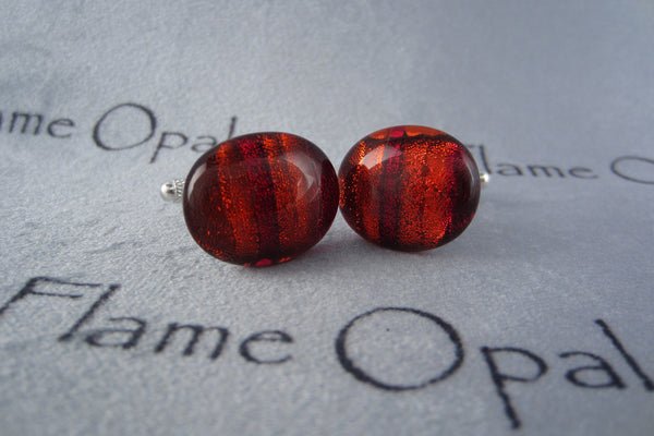 'Red Stripe' Glass Cufflinks
