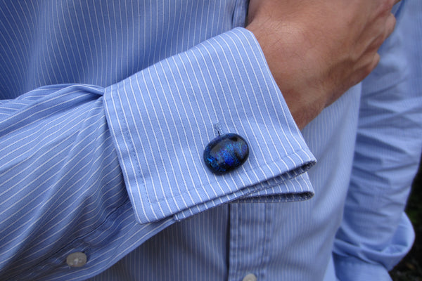 'Blue Square' Glass Cufflinks