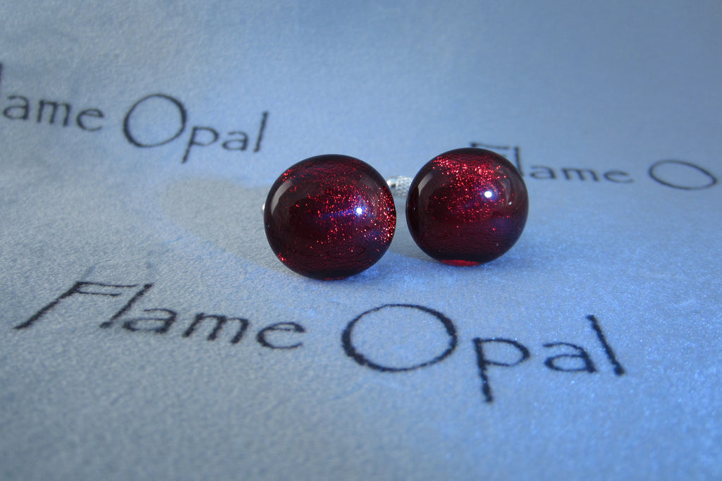 'Red Reflection' Glass Cufflinks
