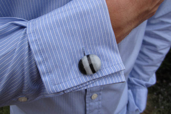 'Monochrome Stripe' Glass Cufflinks
