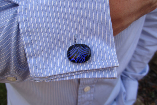 'Purple Pattern' Glass Cufflinks