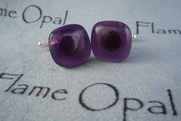 'Golden Purple' Glass Cufflinks