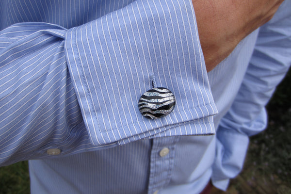 'Zebra Stripe' Glass Cufflinks