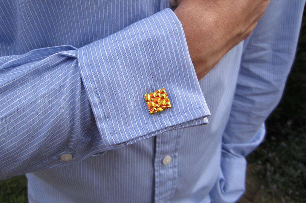 'Orange Glint' Glass Cufflinks