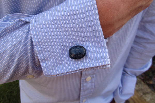 'Midnight Blue' Glass Cufflinks