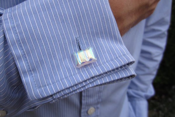 'Golden Ripple' Glass Cufflinks