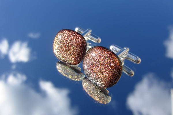 'Autumn Fire' Crinkle Two Tone Cufflinks