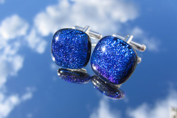 'Electric Blue' Crinkle Two Tone Cufflinks