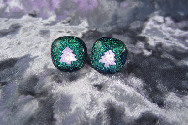 'Grue Xmas Trees' Dichroic Glass Cufflinks