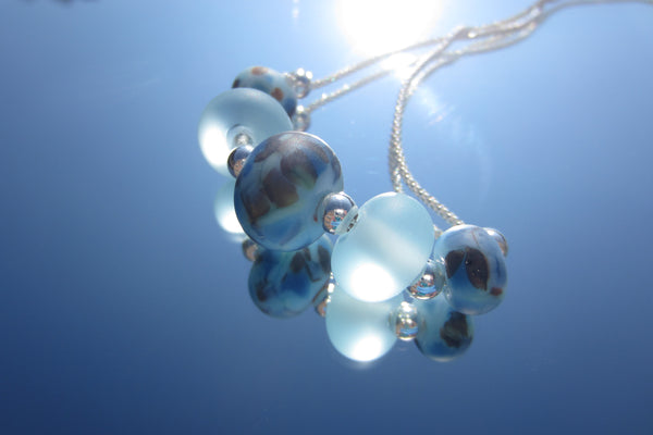 """Blue Mottle"" Glass & 925 Sterling Silver Necklace"