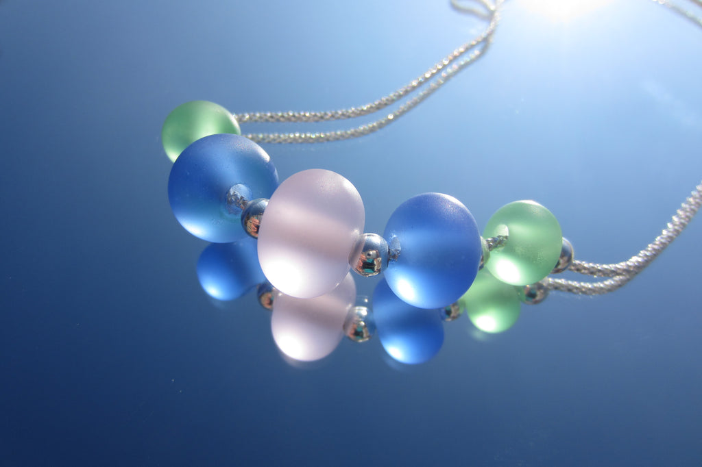 """Summer Garden"" Glass & 925 Sterling Silver Necklace"
