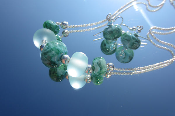 """Ocean Swirl"" Glass & 925 Sterling Silver Necklace"