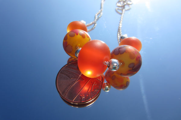 """Oranges & Lemons"" Glass & 925 Sterling Silver Necklace"