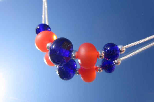 """Orange & Blue"" Glass & 925 Sterling Silver Necklace"
