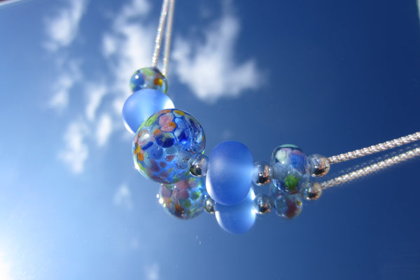 """Blue Skies"" Glass & 925 Sterling Silver Necklace"