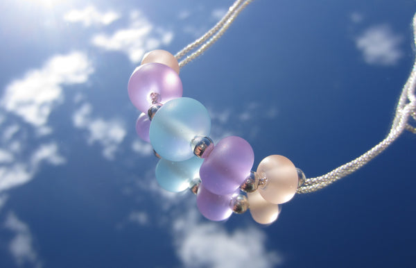 """Powder Pastels"" Glass & 925 Sterling Silver Necklace"