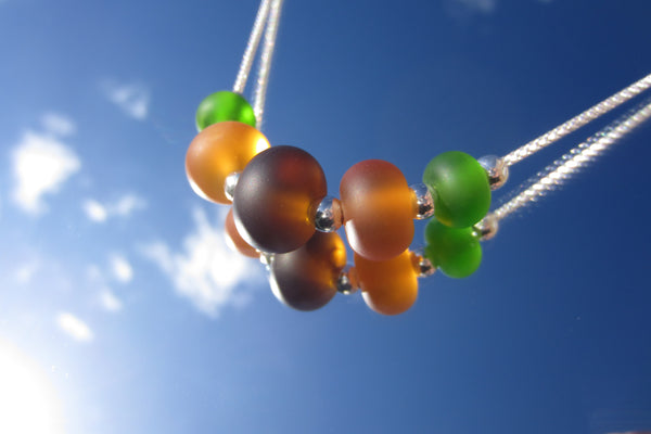 """Autumn Leaves"" Glass & 925 Sterling Silver Necklace"