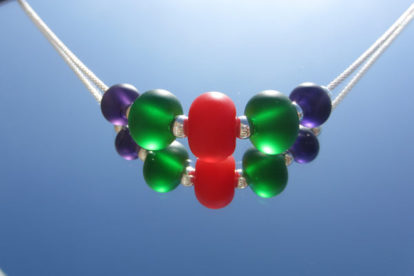 """Frosted Halloween"" Glass & 925 Sterling Silver Necklace"
