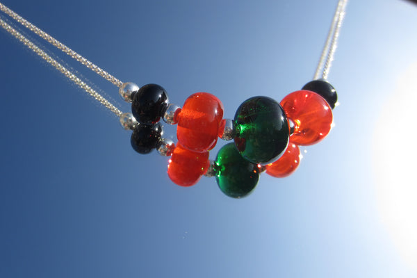 """Halloween Garden"" Glass & 925 Sterling Silver Necklace"