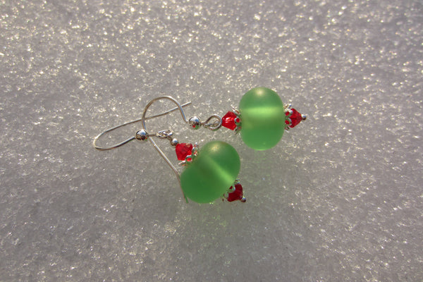 """Holly Berries"" Glass & 925 Sterling Silver Earrings"