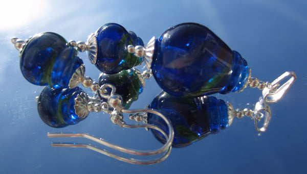 """Blue Brights"" Lantern Glass & 925 Sterling Silver Pendant & Earrings Set"