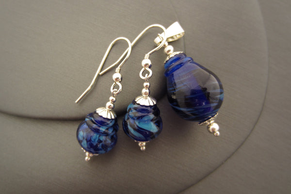 """Blue Lagoon"" Lantern Glass & 925 Sterling Silver Pendant & Earrings Set"