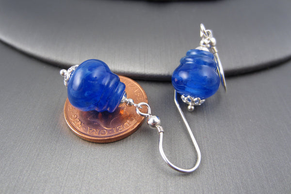 """Blue Swirl"" Glass & 925 Sterling Silver Lantern Earrings"