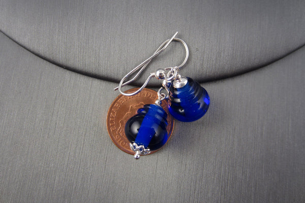 """Royal Blue"" Glass & 925 Sterling Silver Lantern Earrings"