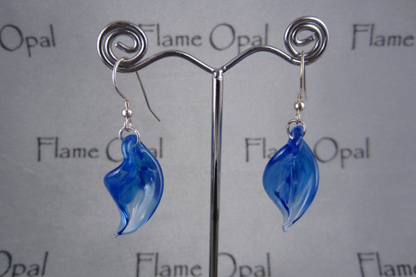 """Blue Twist"" Glass & 925 Sterling Silver Earrings"