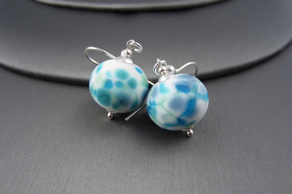 """Teal Burst"" Glass & 925 Sterling Silver Earrings"