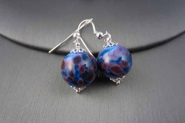 """Blue Berry"" Glass & 925 Sterling Silver Earrings"
