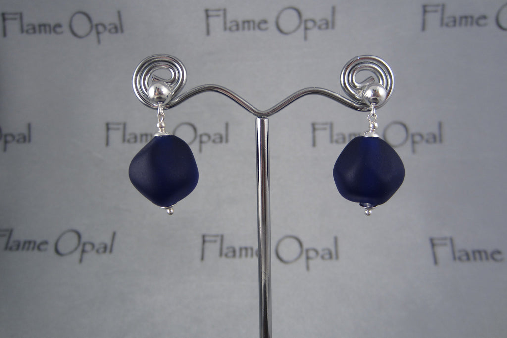 """Blue Glow"" Glass & 925 Sterling Silver Earrings"