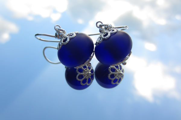 """Cobalt Blue"" Glass & 925 Sterling Silver Earrings"