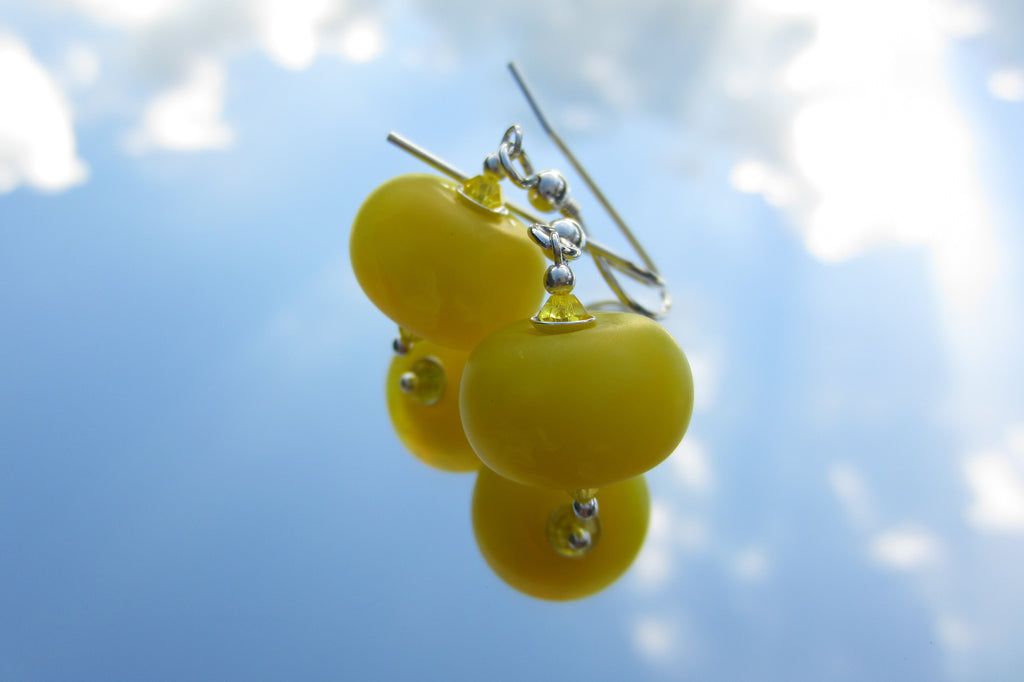 """Electric Yellow"" Glass & 925 Sterling Silver Earrings"